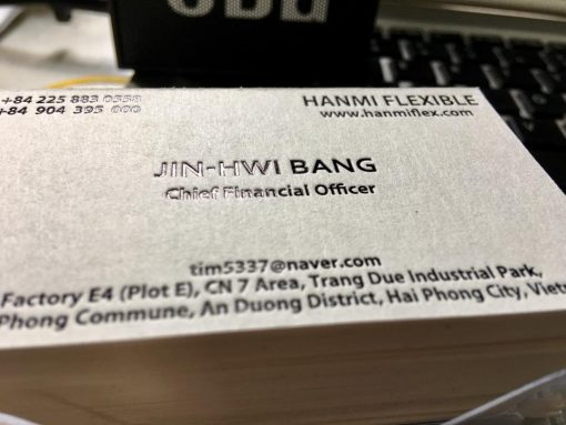 debossed business card on special paper material helixgram printing and graphic design name card saigon debossed name card hcm