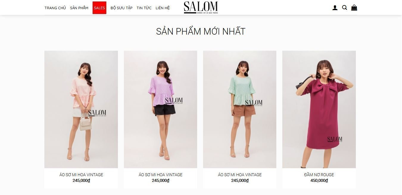 Salom Fashion high quality women clothes in Saigon hot trend fashion brand Salom website and web development in Saigon e-commerce website wordpress website SEO optimised designed by Helixgram Design