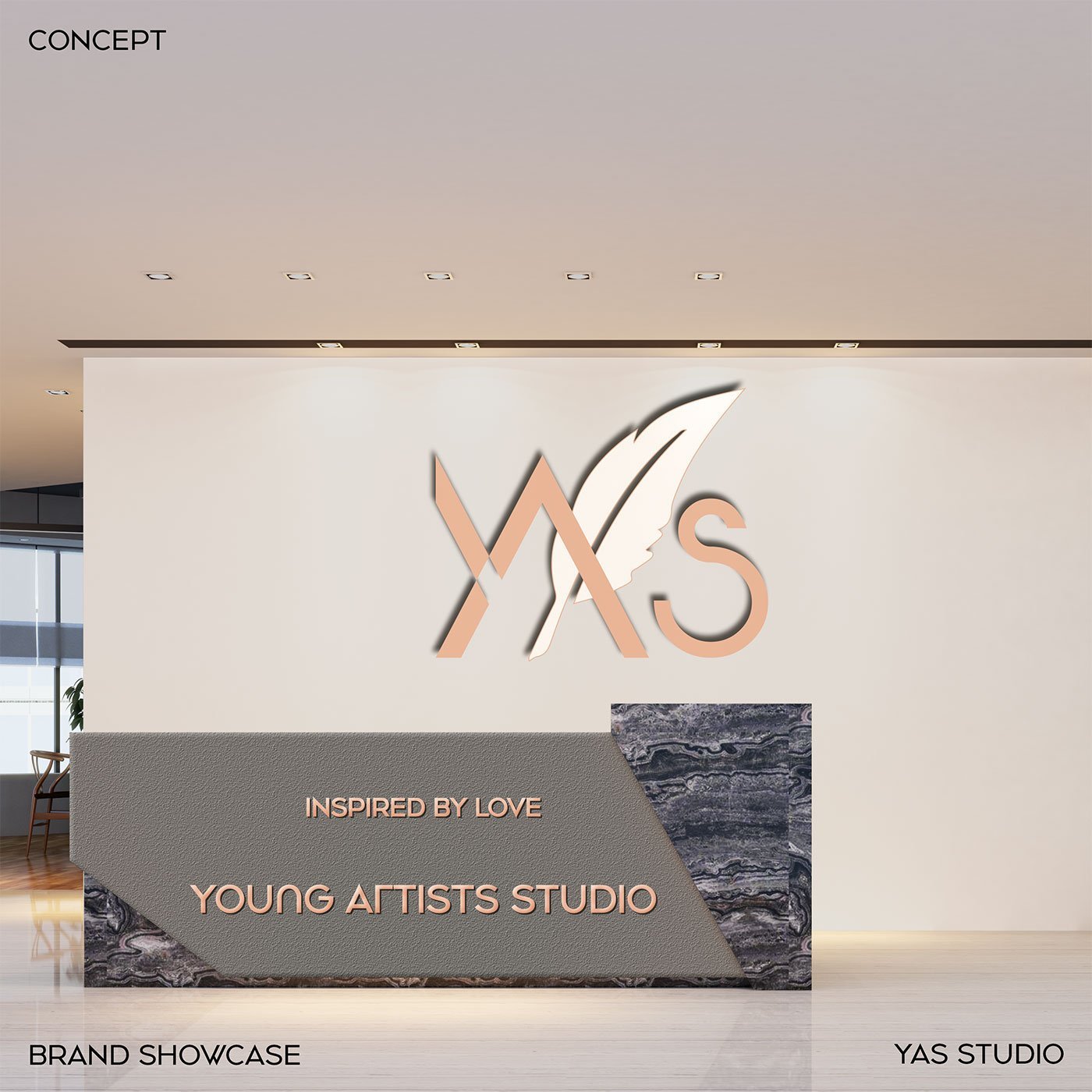 YAS Young Artists Studio office wall design-branding design-visual-identity-design Vietnam-graphic-design-and-branding-web-design-logo-design-graphic design-Helixgram