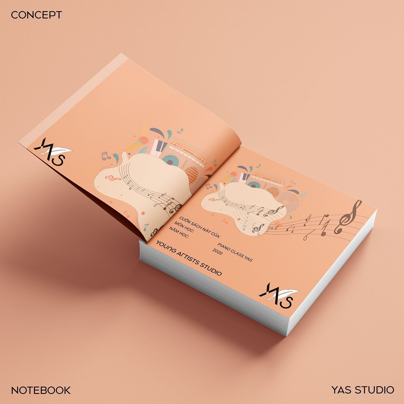 YAS Young Artists Studio official logo notebook cover-showcase-mockup design-branding design-visual-identity-design Vietnam-graphic-design-and-branding-web-design-professional-logo-design-Helixgram