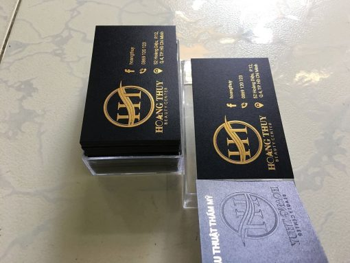 Gold-Foil-Business-Card-with-Embossed-Letters-on-Black-art-paper-material-Hoang-Thuy-design-and-printing-lulxury-name-card-in-Saigon-by-Helixgram