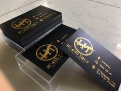 Gold-Foil-Business-Card-with-Embossed-Letters-on-Black-art-paper-material-Hoàng-Thùy-design-and-printing-lulxury-name-card-in-Saigon-by-Helixgram-Design-2