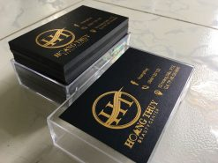 Gold-Foil-Business-Card-with-Embossed-Letters-on-Black-art-paper-material-Hoàng-Thùy-design-and-printing-lulxury-name-card-in-Saigon-by-Helixgram-Design
