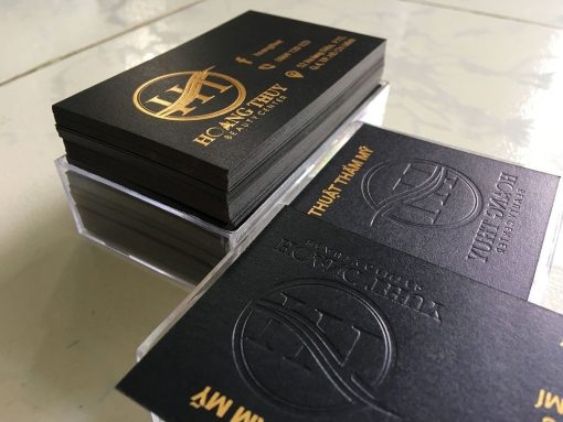 Gold-Foil-Business-Card-with-Embossed-Letters-on-Black-art-paper-material-Hoang-Thuy-design-and-printing-lulxury-name-card-in-Saigon-by-Helixgram-Design-6