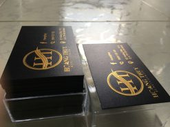 Gold-Foil-Business-Card-with-Embossed-Letters-on-Black-art-paper-material-design-and-printing-lulxury-name-card-in-Saigon-by-Helixgram-Design