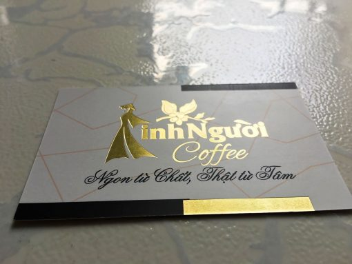 Silk Laminated Gold-foil-business-card--on-standard-paper-material-printing-business-card-in-Saigon-by-Helixgram-Design
