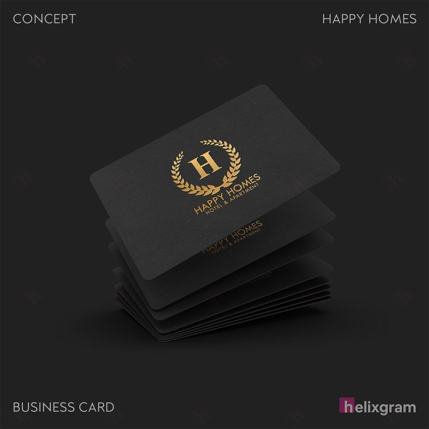 Thiết kế In danh thiếp Nhận diện thương hiệu Happy Homes Sài Gòn Thiết kế thương hiệu thiết kế Logo ấn phẩm truyền thông quảng cáo thiết kế website in ấn túi giấy chất lượng cao Saigon Helixgram Design