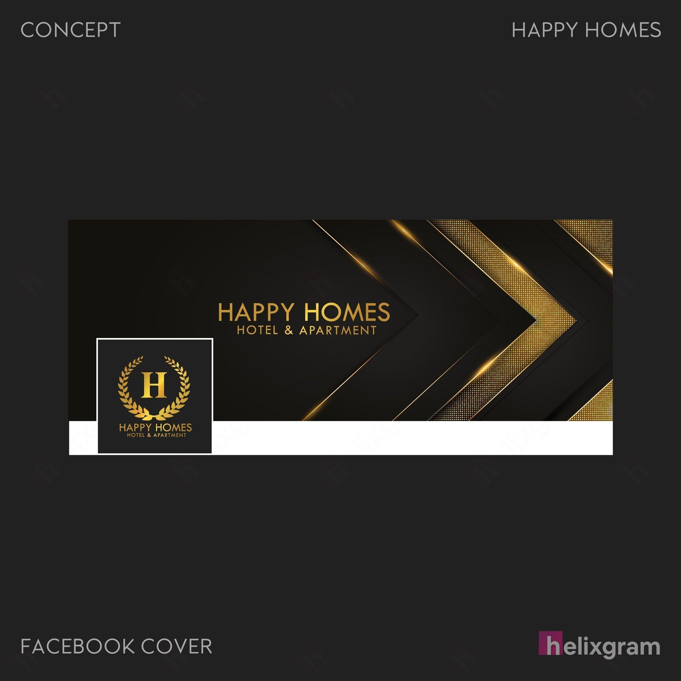 Banner mạng xã hội Facebook Nhận diện thương hiệu Happy Homes Sài Gòn Thiết kế thương hiệu thiết kế Logo ấn phẩm truyền thông quảng cáo thiết kế website in ấn túi giấy chất lượng cao Saigon Helixgram Design