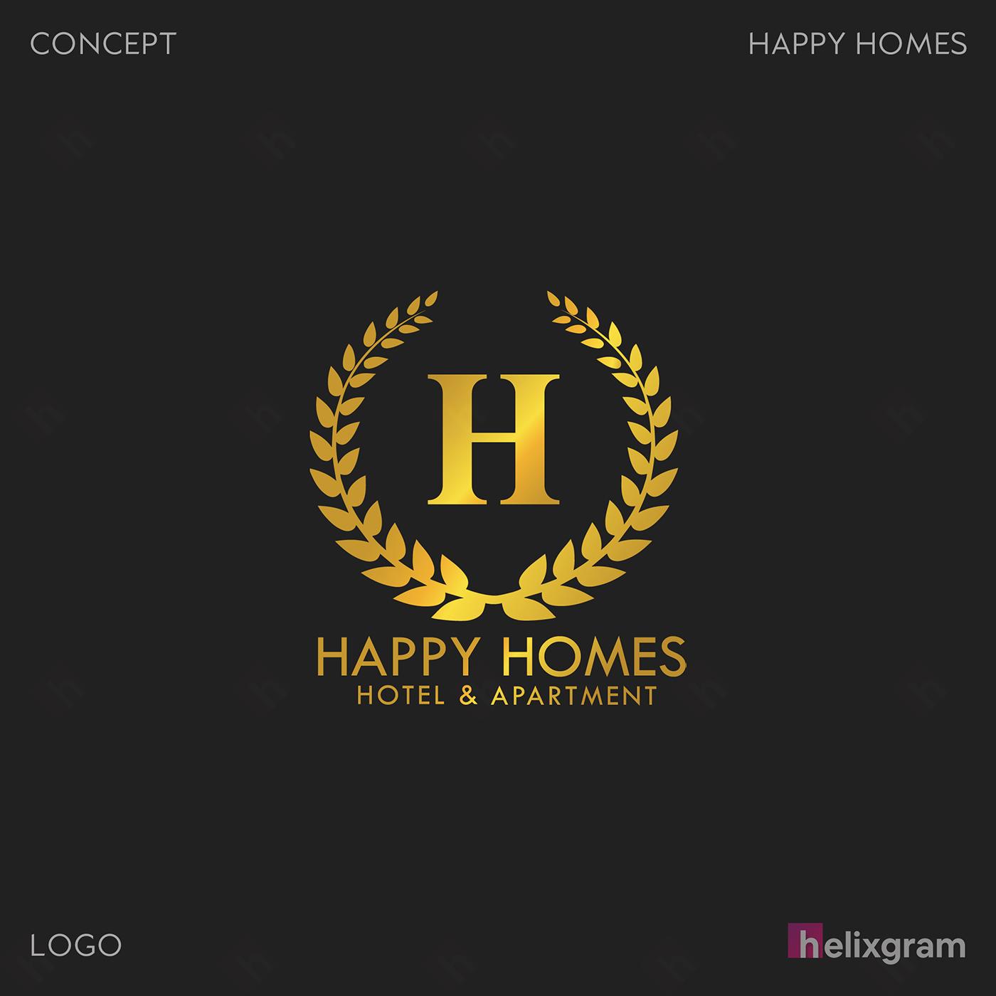 Logo Nhận diện thương hiệu Happy Homes Sài Gòn Thiết kế thương hiệu thiết kế Logo ấn phẩm truyền thông quảng cáo thiết kế website in ấn túi giấy chất lượng cao Saigon Helixgram Design