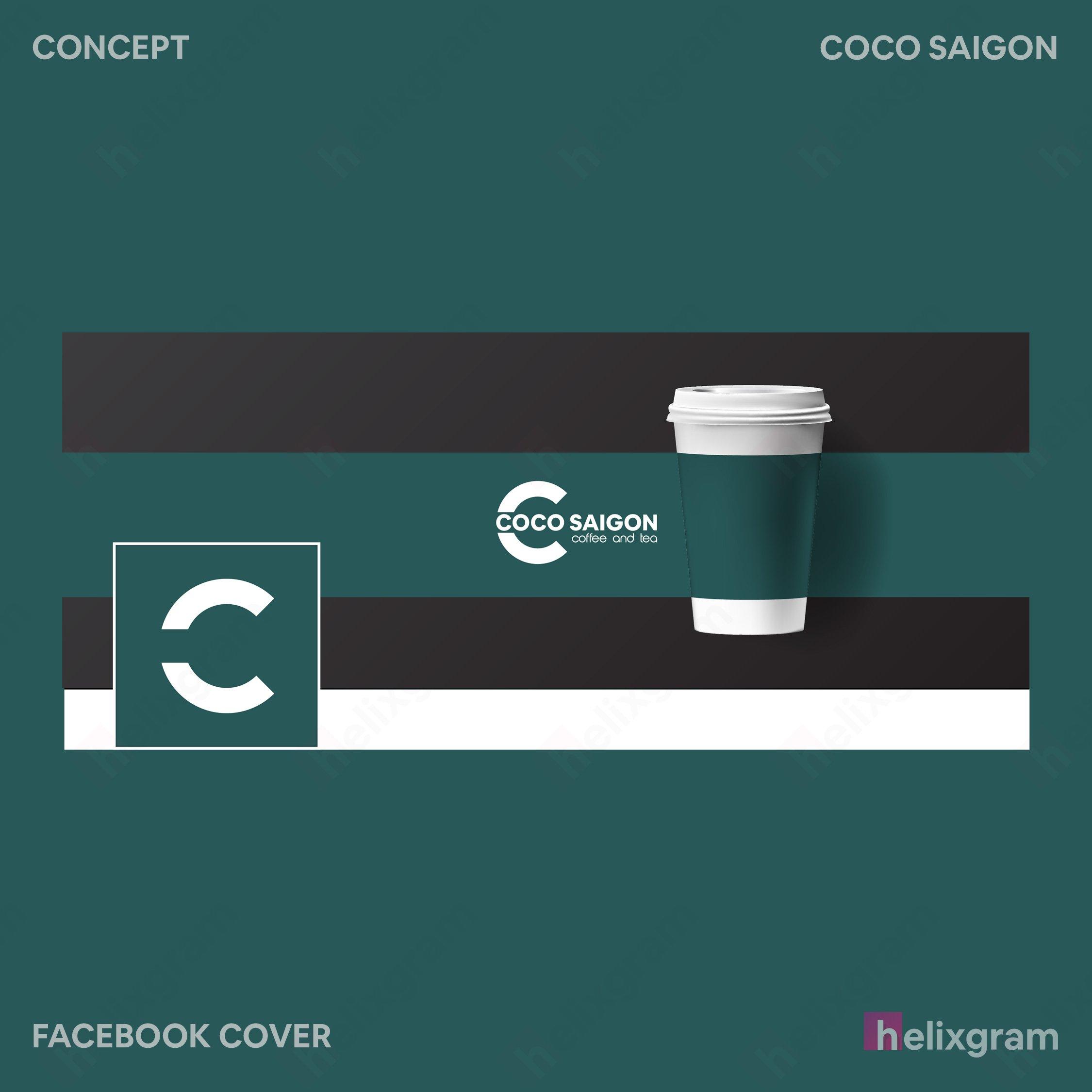 Ảnh bìa Facebook cover Nhận diện thương hiệu coffee Coco Sài Gòn Thiết kế thương hiệu thiết kế Logo ấn phẩm truyền thông quảng cáo thiết kế website in ấn chất lượng cao Saigon Helixgram Design