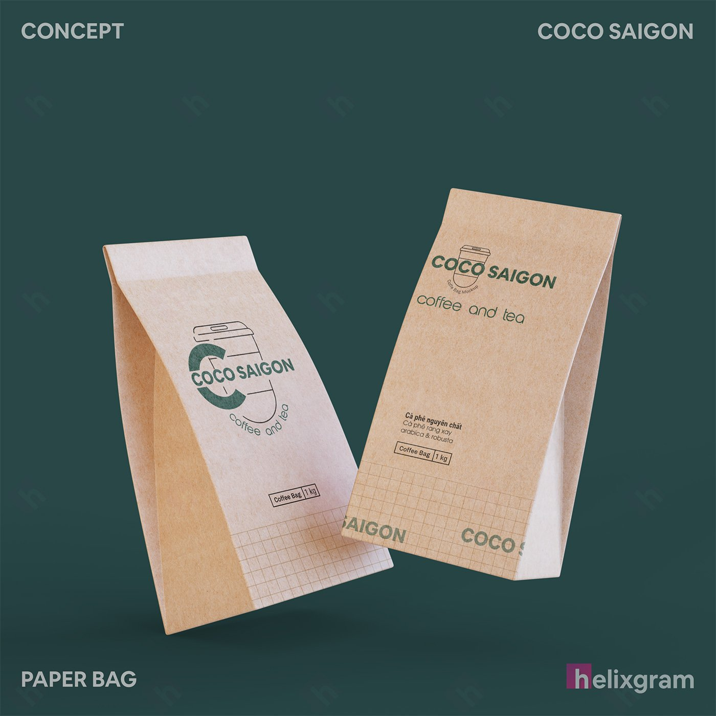 Nhận diện thương hiệu coffee Coco Sài Gòn Thiết kế thương hiệu thiết kế Logo ấn phẩm truyền thông quảng cáo thiết kế website in ấn túi giấy chất lượng cao Saigon Helixgram Design