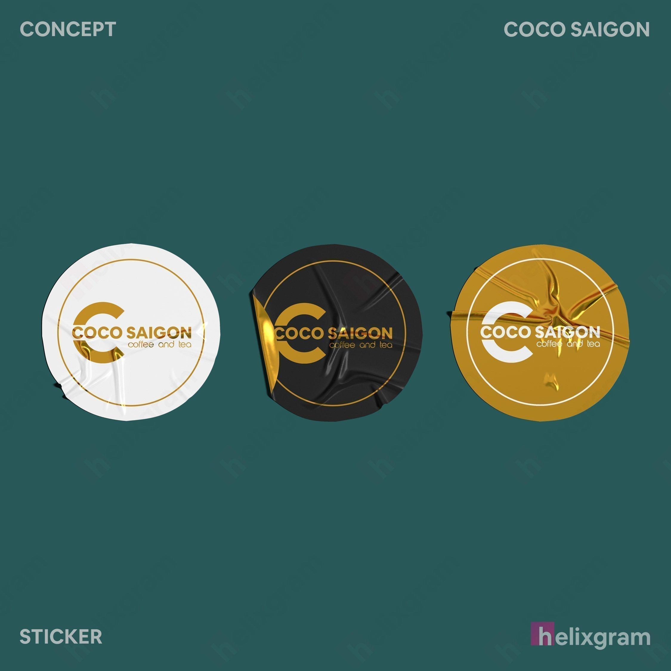 Nhận diện thương hiệu coffee Coco Sài Gòn Thiết kế thương hiệu thiết kế Logo ấn phẩm truyền thông quảng cáo thiết kế website in ấn chất lượng cao Saigon Helixgram Design decal dán sticker nhãn